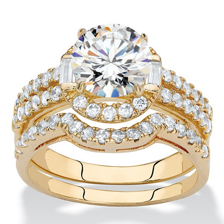 Round Cubic Zirconia 2-Piece Triple-Row Halo Wedding Ring Set 1.86 TCW 14k Gold-Plated at PalmBeach Jewelry