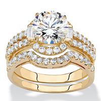 Round CZ 2-Piece Triple-Row Halo Wedding Ring Set 1.86 TCW 14k Gold-Plated ONLY 19.99