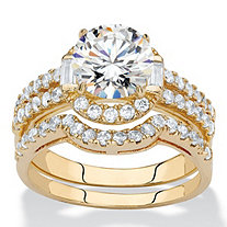 Round Cubic Zirconia 2-Piece Triple-Row Halo Wedding Ring Set 1.86 TCW 14k Gold-Plated