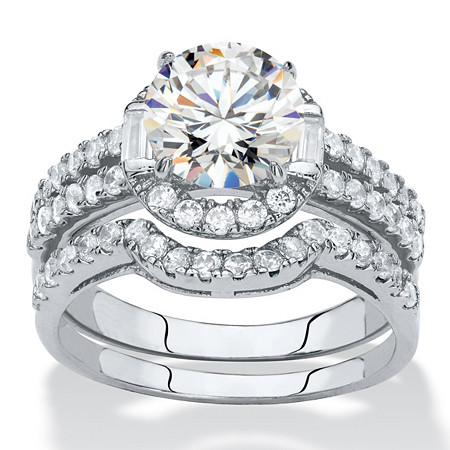 Round Cubic Zirconia 2-Piece Halo Wedding Ring Set 1.86 TCW in Silvertone at PalmBeach Jewelry