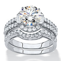 Round Cubic Zirconia 2-Piece Halo Wedding Ring Set 1.86 TCW in Silvertone