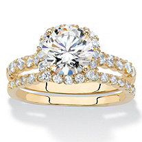 Round and Pave Cubic Zirconia 2-Piece Halo Wedding Ring Set 2.28 TCW 14k Gold-Plated