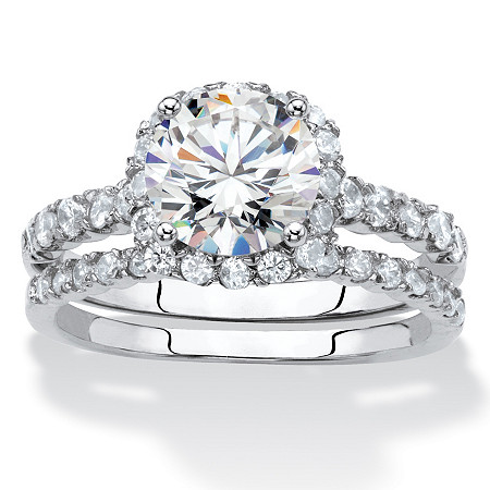 Round and Pave Cubic Zirconia 2-Piece Halo Bridal Ring Set 2.28 TCW in Silvertone at PalmBeach Jewelry