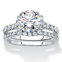 Round and Pave Cubic Zirconia 2-Piece Halo Bridal Ring Set 2.28 TCW in Silvertone