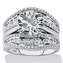 SETA JEWELRY Round Cubic Zirconia 2-Piece Multi-Row Jacket Wedding Ring Set 4.27 TCW in Platinum over Sterling Silver