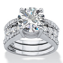 SETA JEWELRY Round Cubic Zirconia 2-Piece Multi-Row Jacket Wedding Ring Set 4.80 TCW in Platinum over Sterling Silver