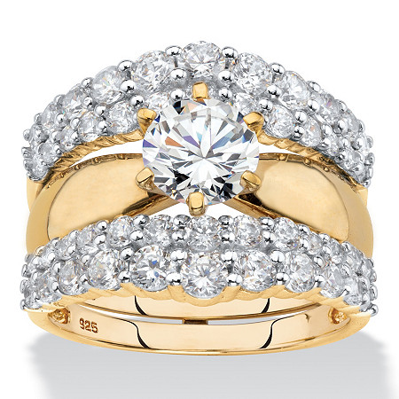 Round Cubic Zirconia 2-Piece Jacket Bridal Ring Set 3.14 TCW in 18k Yellow Gold over Sterling Silver at PalmBeach Jewelry