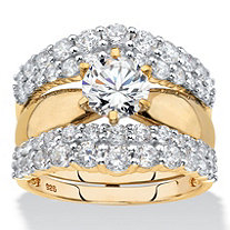 Round Cubic Zirconia 2-Piece Jacket Bridal Ring Set 3.14 TCW in 18k Yellow Gold over Sterling Silver