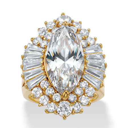 Marquise-Cut Cubic Zirconia Ballerina Ring with Tapered Baguette Accents 12.88 TCW 14k Gold-Plated at PalmBeach Jewelry