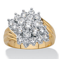 Round Cubic Zirconia Cluster Bypass Ring 1.81 TCW 14k Gold-Plated