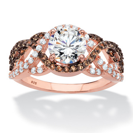 Round Cubic Zirconia and Simulated Smoky Topaz Crossover Halo Ring 2.07 TCW in Rose Gold and Black Ruthenium over Sterling Silver at PalmBeach Jewelry