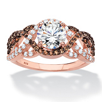 Round CZ And Simulated Smoky Topaz Crossover Halo Ring