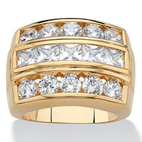 Men's Square-Cut and Round Cubic Zirconia Channel-Set Step Ring 4.35 TCW 18k Gold-Plated