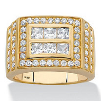 Men's Square-Cut Cubic Zirconia Channel-Set Grid Ring 1.59 TCW in 18k Gold over Sterling Silver