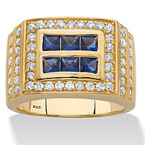 Men's Square-Cut Simulated Blue Sapphire and Round Cubic Zirconia Grid Ring 2.31 TCW in 18k Gold over Sterling Silver