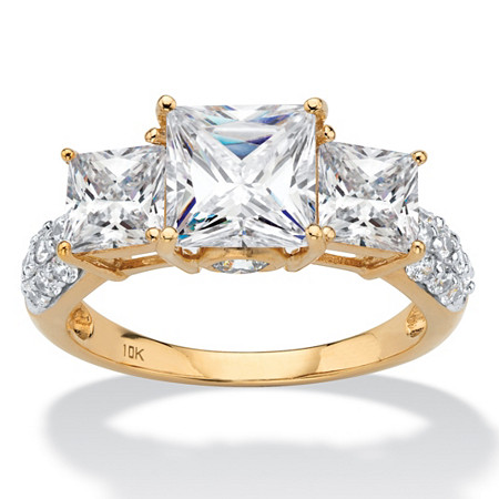 Princess-Cut Cubic Zirconia 3-Stone Engagement Ring 3.46 TCW in Solid 10k Yellow Gold at PalmBeach Jewelry