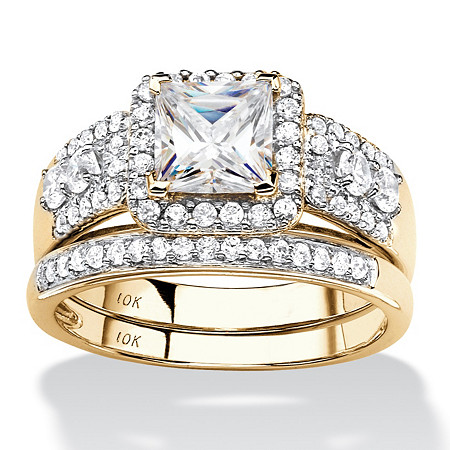 Princess-Cut and Round Cubic Zirconia 2-Piece Halo Wedding Ring Set 1.85 TCW in Solid 10k Yellow Gold at PalmBeach Jewelry