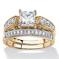 SETA JEWELRY Princess-Cut Cubic Zirconia 2-Piece Vintage-Inspired Wedding Ring Set 1.50 TCW in Solid 10k Yellow Gold