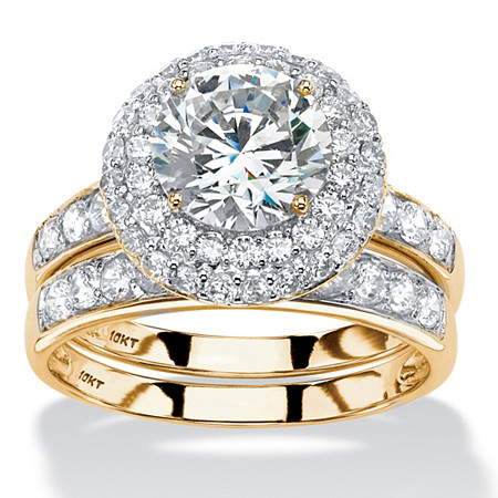 Round Cubic Zirconia 2-Piece Double Halo Wedding Ring Set 3.16 TCW in Solid 10k Yellow Gold at PalmBeach Jewelry
