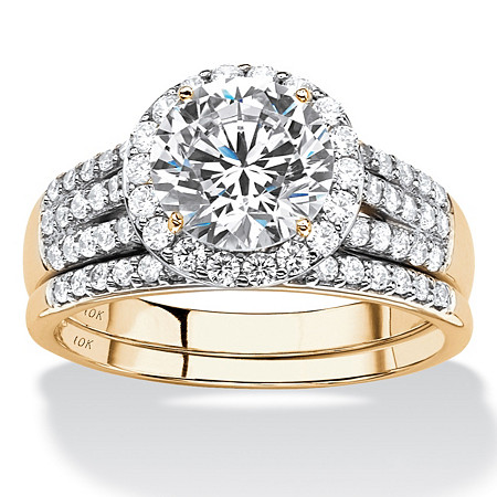 Round Cubic Zirconia 2-Piece Multi-Row Halo Wedding Ring Set 2.55 TCW in Solid 10k Yellow Gold at PalmBeach Jewelry