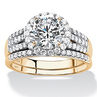 Round Cubic Zirconia 2-Piece Multi-Row Halo Wedding Ring Set 2.55 TCW In Solid 10k Yellow Gold ONLY $269.99