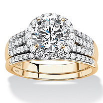 Round Cubic Zirconia 2-Piece Multi-Row Halo Wedding Ring Set 2.55 TCW in Solid 10k Yellow Gold