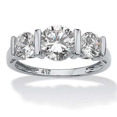 Round Cubic Zirconia 3-Stone Bar-Set Wedding Engagement Ring 2.50 TCW in Solid 10k White Gold at PalmBeach Jewelry
