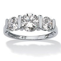 Round Cubic Zirconia 3-Stone Bar-Set Wedding Engagement Ring 2.50 TCW in Solid 10k White Gold