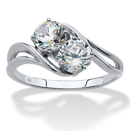 Round Cubic Zirconia 2-Stone Bypass Ring 1.40 TCW in Solid 10k White Gold at PalmBeach Jewelry
