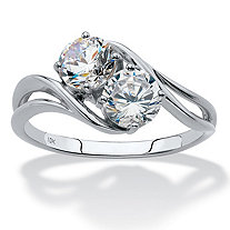 Round Cubic Zirconia 2-Stone Bypass Ring 1.40 TCW in Solid 10k White Gold