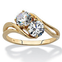 SETA JEWELRY 1.40 TCW Round Cubic Zirconia 2-Stone Bypass Ring in Solid 10k Yellow Gold