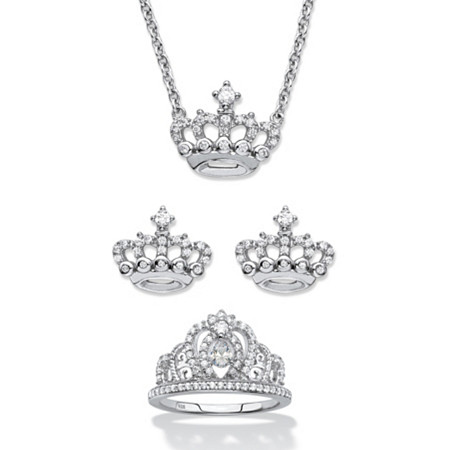 Round Cubic Zirconia 3-Piece Crown Stud Earring, Neckace and Ring Set 1.09 TCW in Sterling Silver at PalmBeach Jewelry