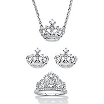 Round Cubic Zirconia 3-Piece Crown Stud Earring, Neckace and Ring Set 1.09 TCW in Sterling Silver