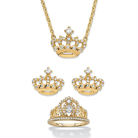 "Round Cubic Zirconia 3-Piece Crown Earring, Necklace and Ring Set 1.09 TCW in 14k Gold over Sterling Silver 18""-20"" at PalmBeach Jewelry"
