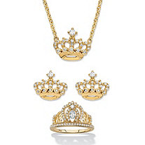 "Round Cubic Zirconia 3-Piece Crown Earring, Necklace and Ring Set 1.09 TCW in 14k Gold over Sterling Silver 18""-20"""