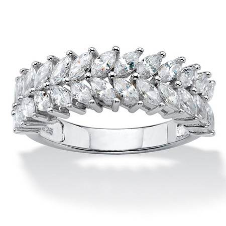 Marquise-Cut Cubic Zirconia Double Row Leaf Ring 2.60 TCW in Platinum over Sterling Silver at PalmBeach Jewelry