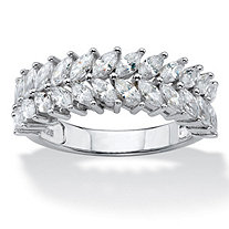 SETA JEWELRY Marquise-Cut Cubic Zirconia Double Row Leaf Ring 2.60 TCW in Platinum over Sterling Silver