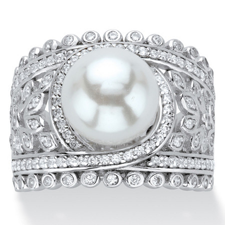 Simulated Pearl and Cubic Zirconia Floral Cocktail Ring .65 TCW in Platinum over Sterling Silver at PalmBeach Jewelry