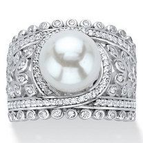 Simulated Pearl and Cubic Zirconia Floral Cocktail Ring .65 TCW in Platinum over Sterling Silver