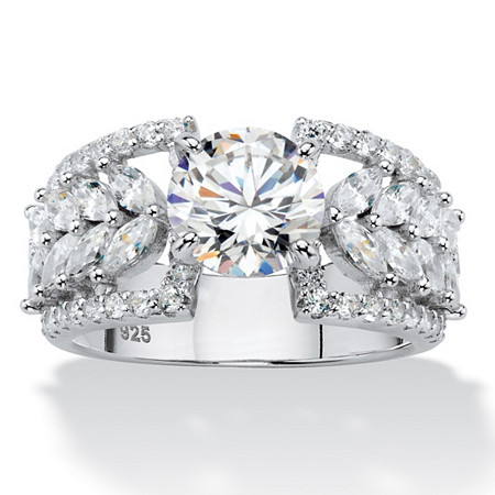 Round Cubic Zirconia Multi-Row Leaf Ring 4.12 TCW in Platinum over Sterling Silver at PalmBeach Jewelry