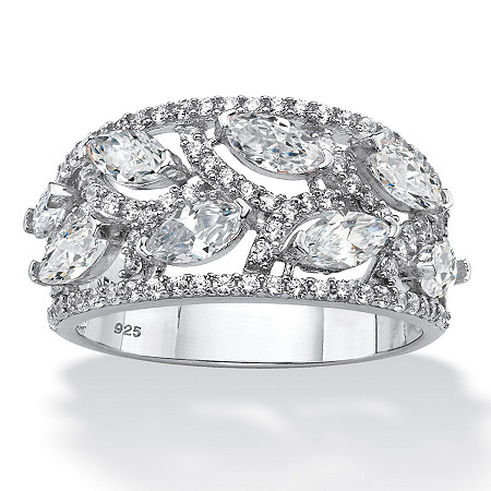 Marquise-Cut Cubic Zirconia Leaf Ring 2.67 TCW in Platinum over Sterling Silver at PalmBeach Jewelry