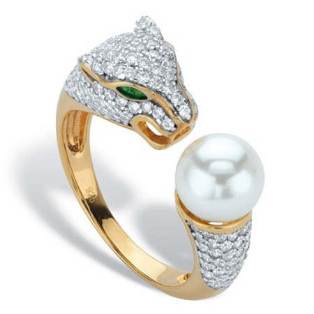 Round Simulated Pearl and Crystal Jaguar Cocktail Ring 1.01 TCW in 14k Gold over Sterling Silver at PalmBeach Jewelry