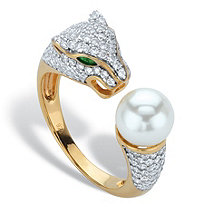 Round Simulated Pearl and Crystal Jaguar Cocktail Ring 1.01 TCW in 14k Gold over Sterling Silver