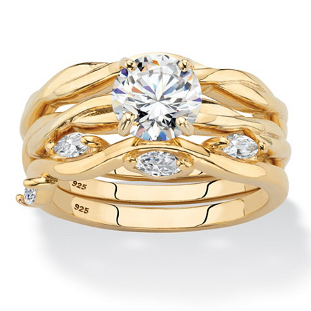 Round Cubic Zirconia 3-Piece Twisted Wedding Ring Set 1.90 TCW in 18k Gold over Sterling Silver at PalmBeach Jewelry