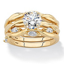 SETA JEWELRY Round Cubic Zirconia 3-Piece Twisted Wedding Ring Set 1.90 TCW in 18k Gold over Sterling Silver