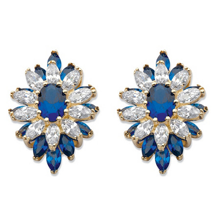 Oval and Marquise-Cut Created Blue Spinel and Cubic Zirconia Floral Earrings 3 TCW 14k Gold-Plated at PalmBeach Jewelry