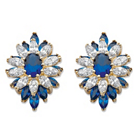 Oval And Marquise-Cut Created Blue Spinel And Cubic Zirconia Floral Earrings