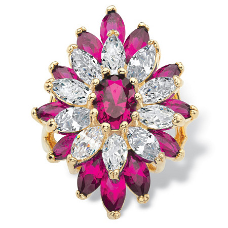 Oval and Marquise-Cut Created Red Ruby and Cubic Zirconia Floral Ring 10.45 TCW Gold-Plated at PalmBeach Jewelry