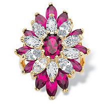 Oval and Marquise-Cut Created Red Ruby and Cubic Zirconia Floral Ring 10.45 TCW 14k Gold-Plated