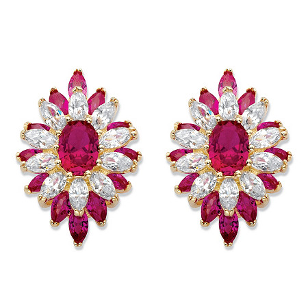 Oval and Marquise-Cut Created Red Ruby and Cubic Zirconia Floral Earrings 8.84 TCW 14k Gold-Plated at PalmBeach Jewelry